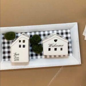 Farmhouse Buffalo Check Tray and Mini Houses